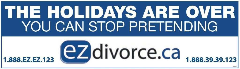 ezDivorce.ca - The Holidays Are Over, You Can Stop Pretending
